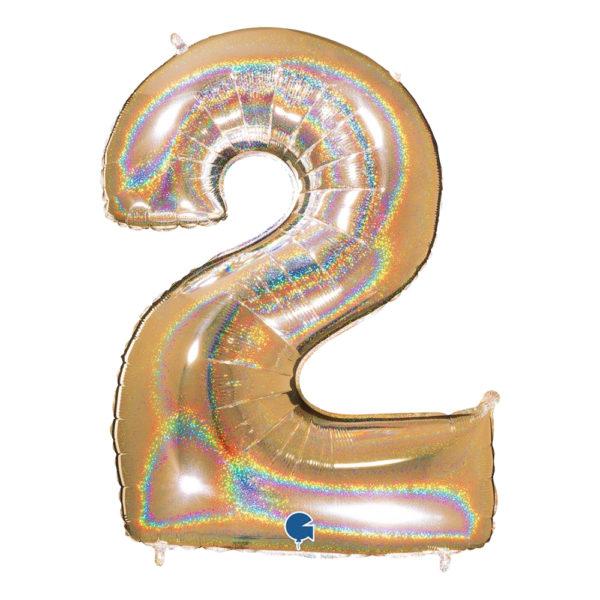 Sifferballong Guld Glitter - Siffra 2