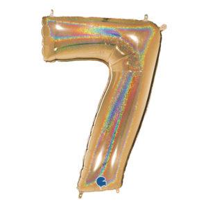 Sifferballong Guld Glitter - Siffra 7