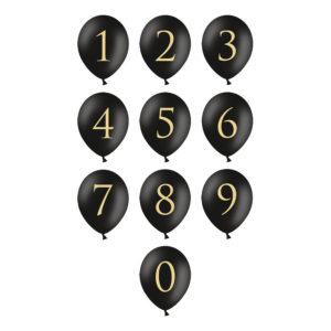 Sifferballong Latex Svart - Siffra 5