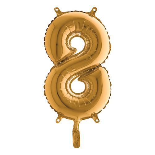 Sifferballong Mini Guld Metallic - Siffra 8
