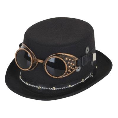 Steampunk Höghatt med Glasögon - One size