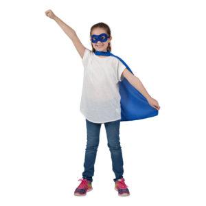 Superhjälte Cape med Mask Blå Barn - One size