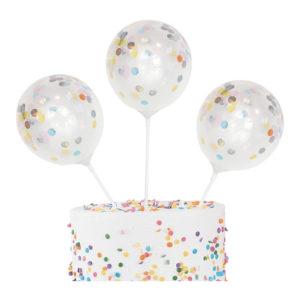 Tårtdekoration Konfettiballonger Mini Pastell - 5-pack