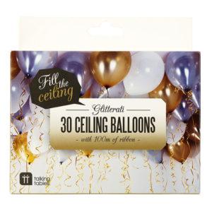 Takballonger Silver/Guld/Vit - 30-pack