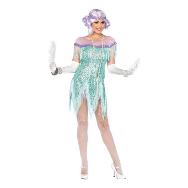 20-tals Foxtrotklänning Havsblå Deluxe Maskeraddräkt - Large