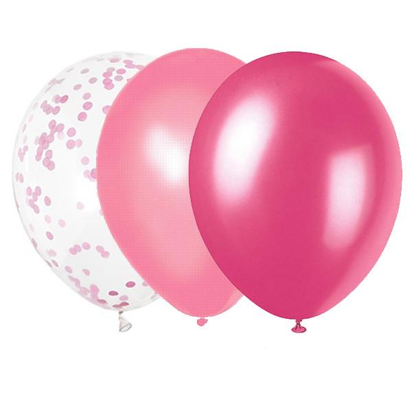 Ballonger Rosa mix med Konfetti 22 st