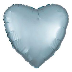 Folieballong Hjärta Satin Pastellblå
