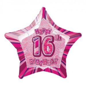 Folieballong Rosa Stjärna 16