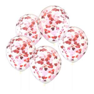 Konfettiballonger med Hjärtan Rosa/Röd - 5-pack