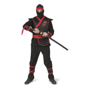 Ninja Svart/Röd Maskeraddräkt - Large