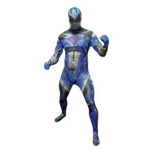 Power Ranger Blå Deluxe Morphsuit Maskeraddräkt - XX-Large