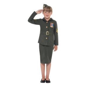 WW2 Arméflicka Barn Maskeraddräkt - Large