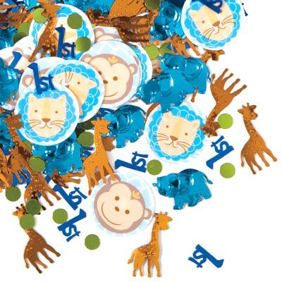 1-års Kalas Safari Blå Konfetti