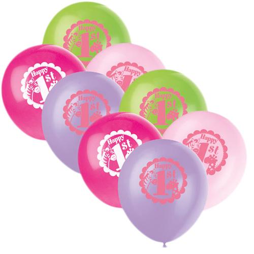 1-års Kalas Safari Rosa Ballonger