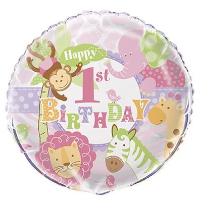 1-års Kalas Safari Rosa Folieballong