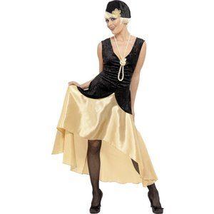20-tal Gatsby-tjej maskeraddräkt, svart och guld