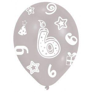 6-års födelsedagsballonger - blandade färger - 28 cm latex - 6 st