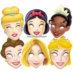 Ansiktsmasker Disney prinsessor - 6 st