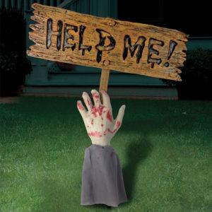 Arm med Halloween Skylt Till Trädgård