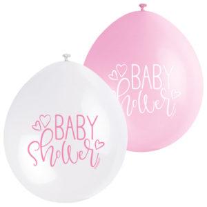 Baby Shower Ballonger Rosa och Vit