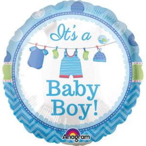 Baby Shower Its a Baby Boy Ballong Folie Rund