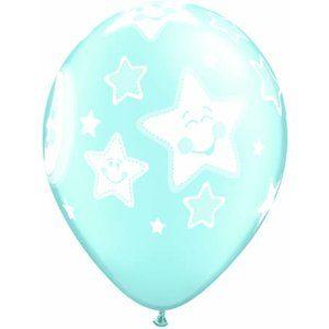 Baby måne och stjärnor ljusblå pearl ballonger - 28 cm latex - 25 st