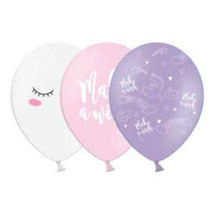 Ballonger Unicorn Vit/Rosa/Lila - 50-pack