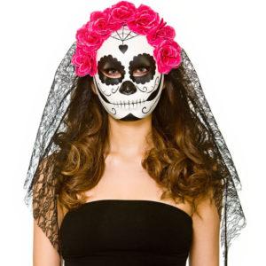 Day of the Dead Mask med Slöja Rosa