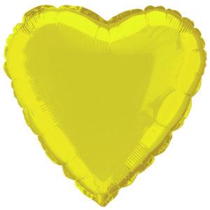 Folieballong Hjärta Gul