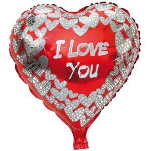 Folieballong Hjärta I Love You Holo