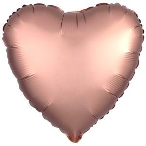 Folieballong Hjärta Roséguld Satinluxe