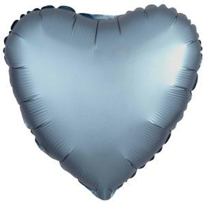 Folieballong Hjärta Steel Blå Satinluxe