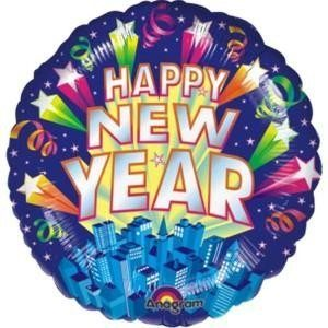 Folieballong - New Year's Skyline 45 cm
