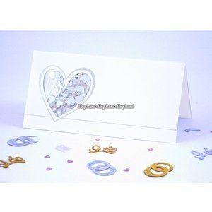 Hjärta med konfetti placeringskort - 12 st