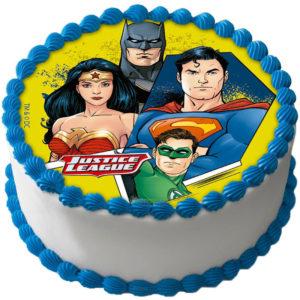 Justice League Tårtbild Sockerpasta A