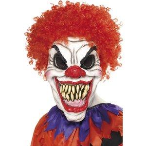 Läskig clownmask med peruk