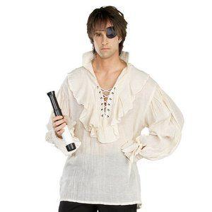 Piratskjorta i linne - naturlig