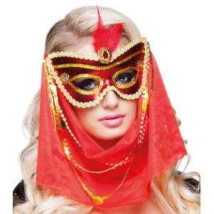 Röd Mask med Slöja