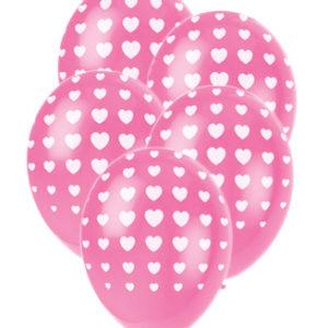 Rosa Ballonger med Hjärtan