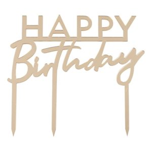 Tårtdekoration Happy Birthday Guld