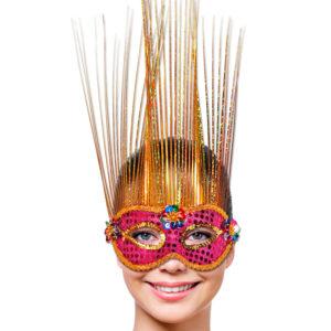 Venetiansk Mask Magenta/Guld Deluxe