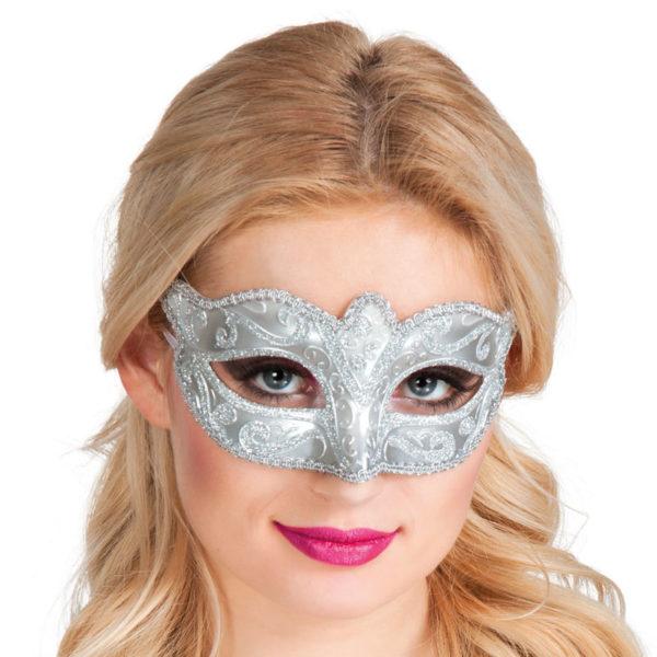 Vit och Silver Mask med Silverdetaljer