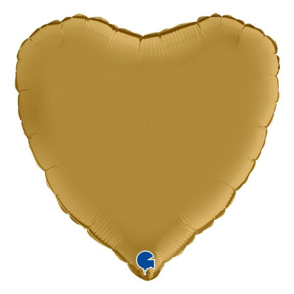 Folieballong Hjärta Guld Satin - 1-pack