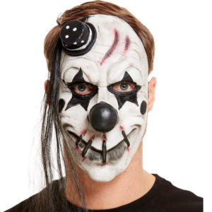 Läskig Clown Mask Svart/Vit Latex