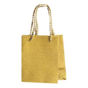 Presentpåse Liten Glitter Guld - 2-pack