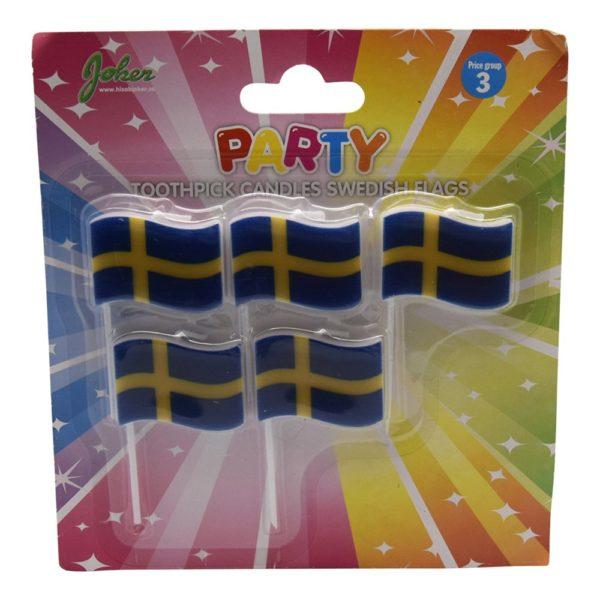 Tårtljus Sverigeflagga - 5-pack