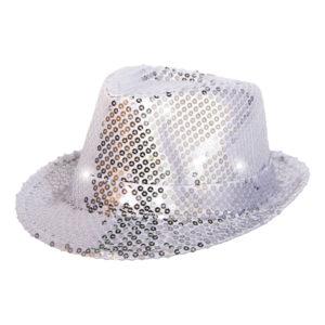 Trilby Paljetthatt Silver LED