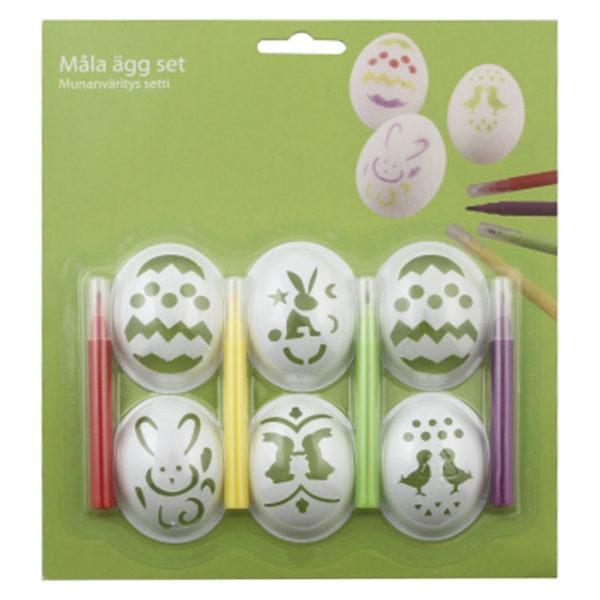 Äggmallar med färgpennor Set