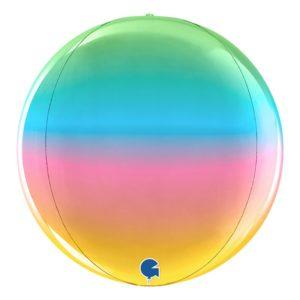 Folieballong Globe Regnbågsfärgad