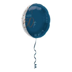 Folieballong Happy 50th True Blue - 45 cm